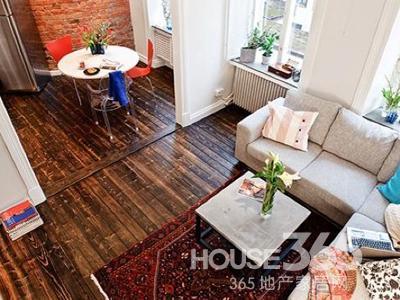 复式住宅装修效果图:从卧室所处的夹层望下来,厨房和客厅相