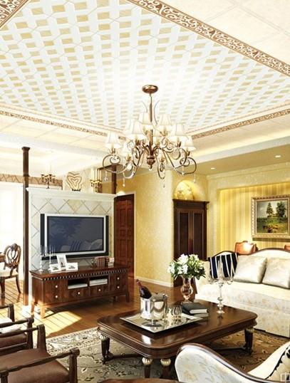 家装客厅吊顶效果图:奢华欧式设计图