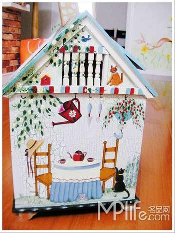 卧室垃圾桶,原木彩绘